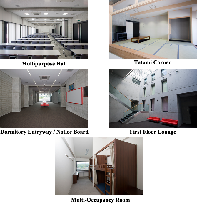 multipurpose hall, tatami corner, entryway, notice board, first floor lounge and short-term housing room