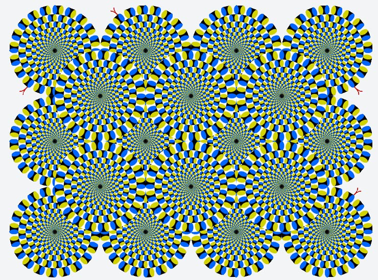 Rotating snakes optical illusion by Professor Kitaoka of Ritsumeikan University uses a phenomenon known as peripheral drift