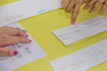 Phrases were written on one side of handmade language cards, with an explanation written on the reverse