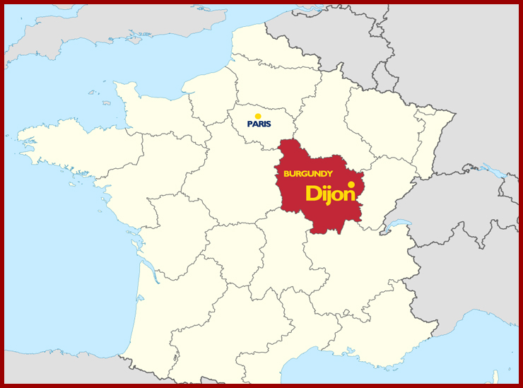 A map of France showing the location of Burgundy in relation to Paris (south east); and the location of Dijon - Le Cordon Bleu Chef Gilles Company's home city - within the Brugundy region