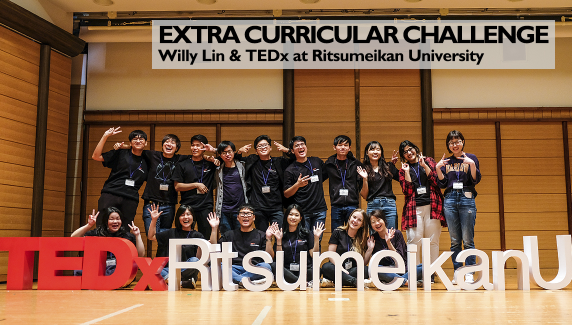 TEDx Ritsumeikan University - the 3D letters spelt across the stage with the organizing team and speakers gathered around