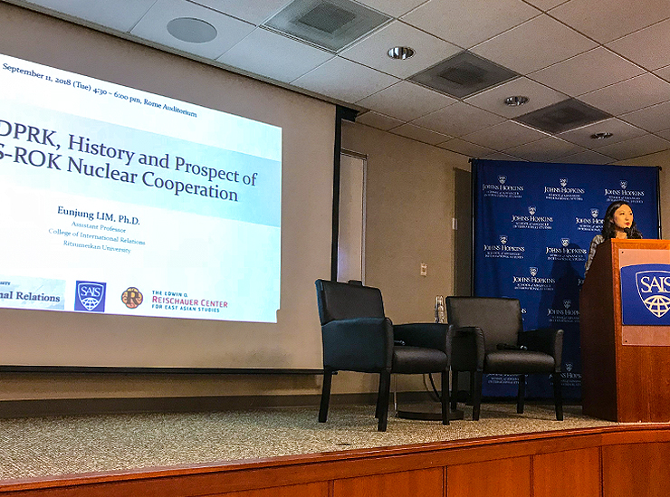Professor Lim gives a presentation at her alma mater, Johns Hopkins' School of Advanced International Studies (US), September 2018