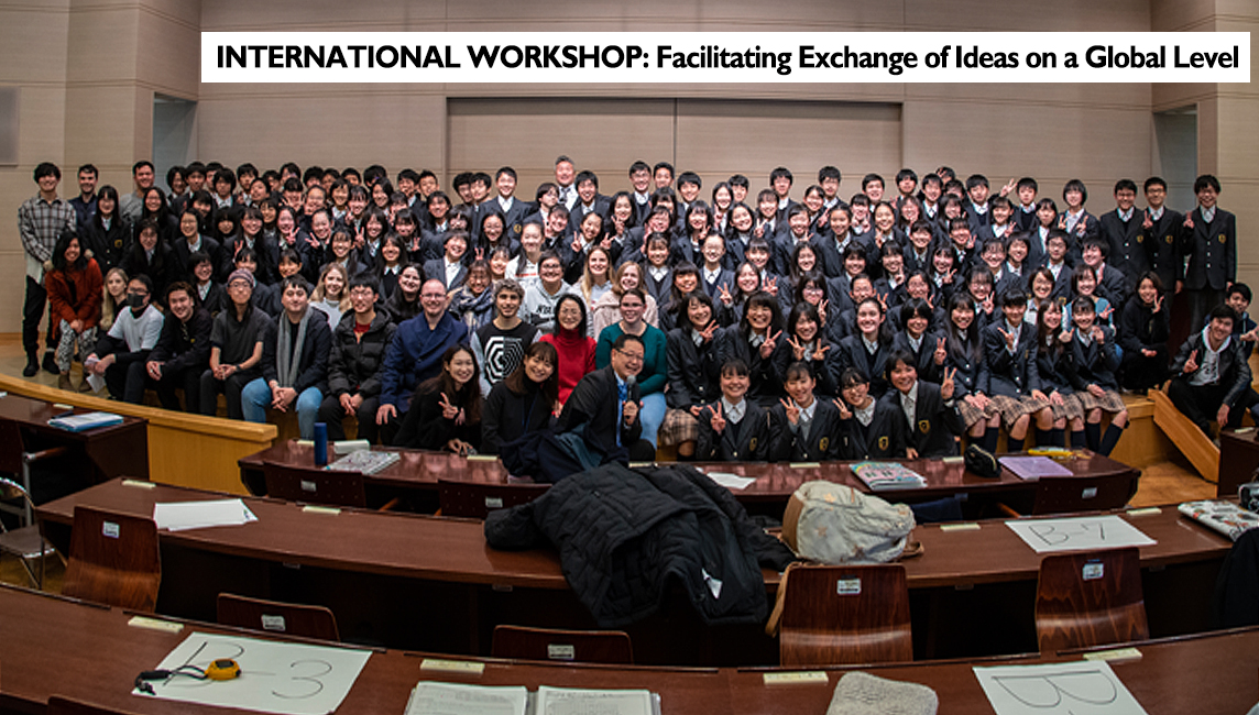 The University of Adelaide Exchange Students and Kyoto Municipal Saikyo High School's attached Junior High School pupils - over 150 - International workshop group photograph